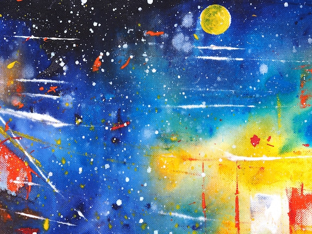 Hand tekenen kleurrijke aquarel schilderij blauwe hemel abstract met textuur