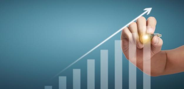 Hand tekening grafiek, grafiek voorraad van groei