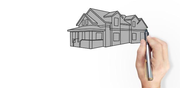 Hand tekening huis concept van droomhuis tekenen door ontwerper