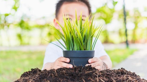 Hand van aziatische schattige vrolijke kleine kindjongen die jonge boom plant op zwarte grond