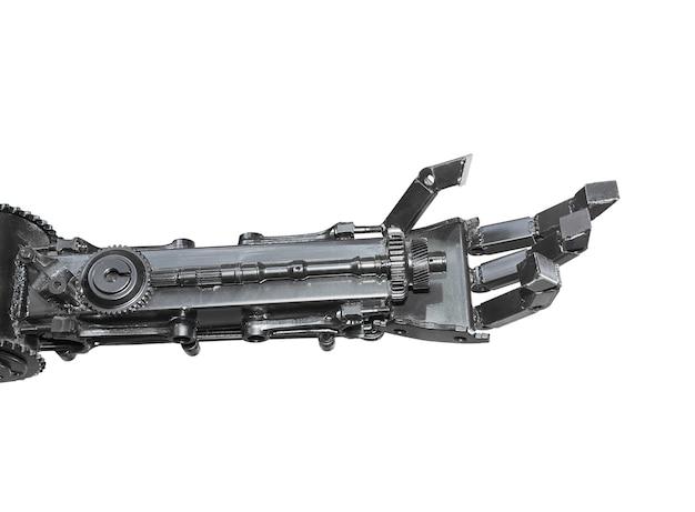 Hand van beeldhouwwerk cyborg van geïsoleerd die schroot wordt gemaakt