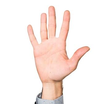 Hand van de man telt vijf