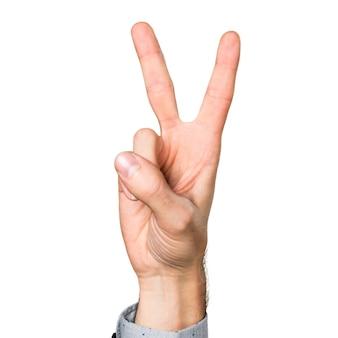 Hand van de mens tellen twee