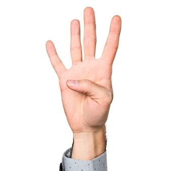 Hand van de mens telt vier