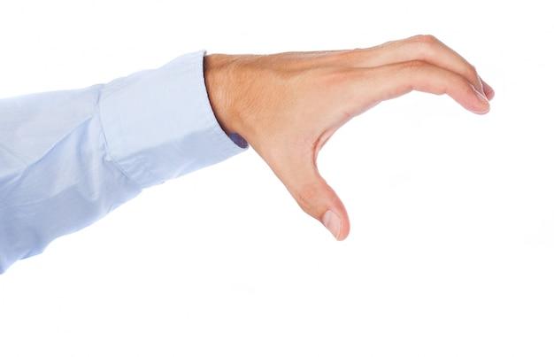 Hand van de zakenman die iets van boven