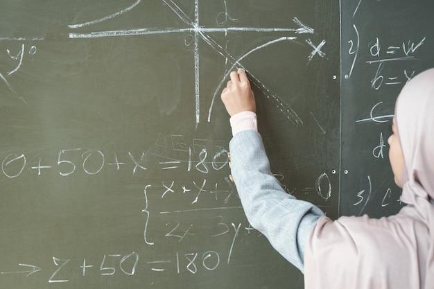 Hand van een jonge vrouwelijke student in hijab die naar een getekende grafiek wijst terwijl ze de vergelijking op het bord oplost en haar acties uitlegt tijdens de les