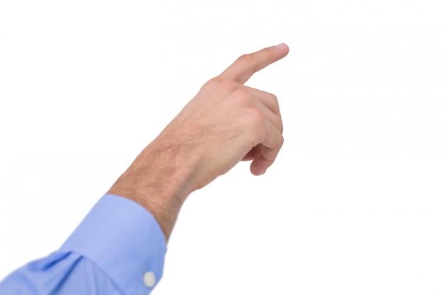 Hand van een zakenman die iets richt
