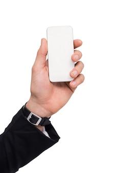 Hand van een zakenman met horloge mobiel houden