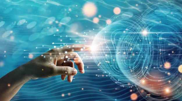 Hand van zakenman die wereldwijde netwerkverbinding aanraakt, gegevensgegevens uitwisselen big data wetenschap