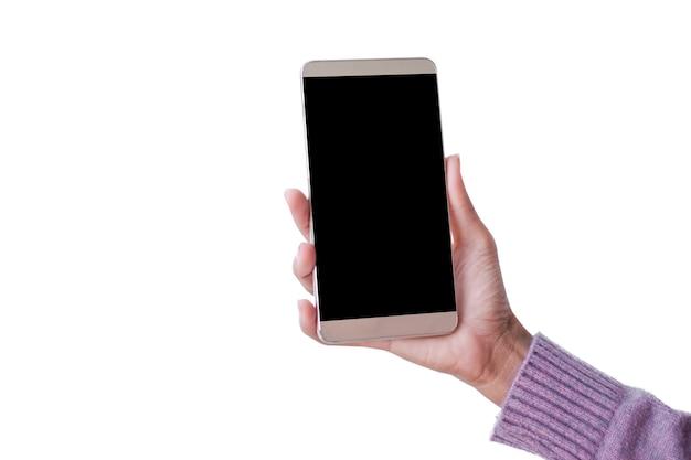 Hand vrouw met trui mockup mobiel geïsoleerd op een witte achtergrond te houden. lege vrije ruimte touchscreen smartphone. technologie signaal draadloos hi-speed internet wifi 5g, toekomstig bedrijfsconcept.