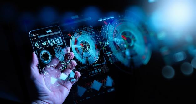 Hand wat betreft telecommunicatienetwerk en draadloze mobiele internettechnologie met 5g lte-gegevensverbinding van wereldwijde bedrijven, fintech, blockchain.