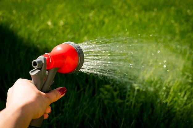 Hand water tuinslang slang zorg groen. vrouw handen water geven planten uit de slang, maakt een regen in de tuin. tuinman met waterslang en spuitbuswater op de bloemen. selectieve nadruk.