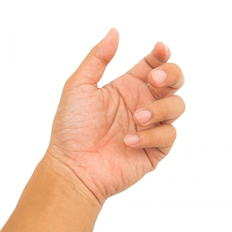 Handactie op geïsoleerd wit