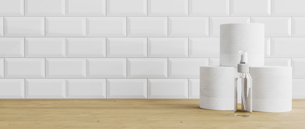 Handdesinfecterend middel, desinfectiemiddel en toiletpapierrollen op houten en witte tegelachtergrond. handdesinfecterend middel, ontsmettingsmiddel en toiletpapierbroodje op een lijst, achtergrond