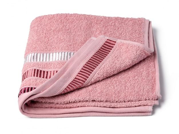 Handdoek op witte dichte omhooggaand wordt geïsoleerd die als achtergrond