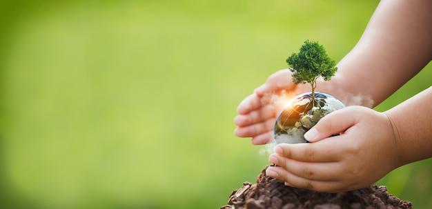 Handen beschermen het milieu, mvo-concept met wereldbol, milieubeschermingsconcept, boom met wereldbol tegen groene achtergrond