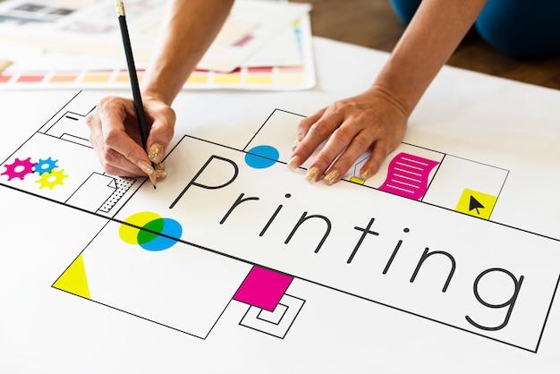 Handen bezig met netwerk grafische overlay banner op bureau