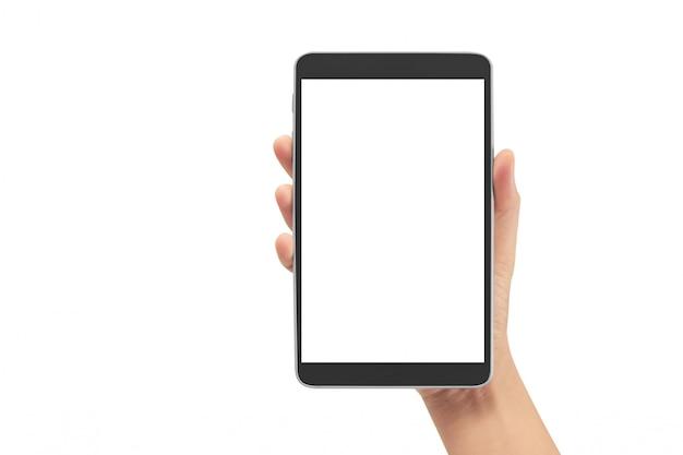 Handen die de computergadget van de tabletaanraking met het geïsoleerde scherm houden