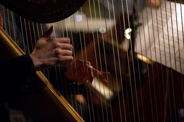 Handen die de harp spelen