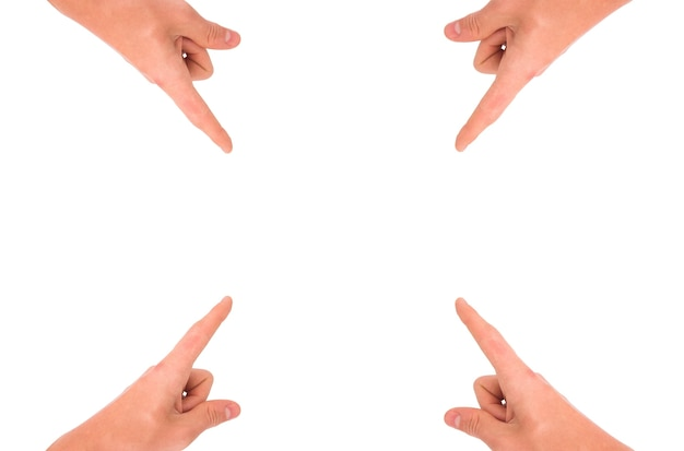 Handen die naar het centrum