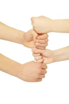 Handen doen een totem
