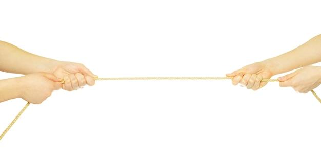 Handen en touw geïsoleerd op wit