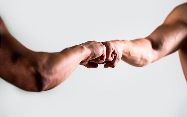Handen man mensen vuist hobbel team teamwork