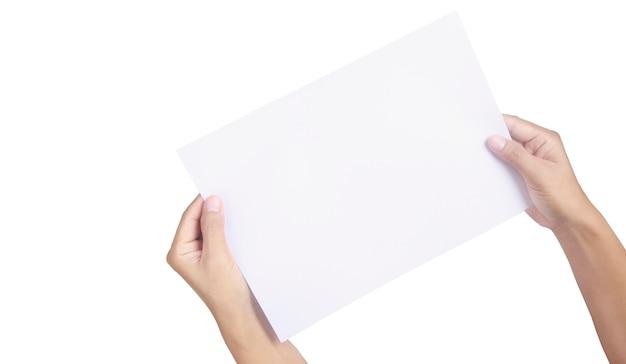 Handen met blanco papier voor een briefpapier