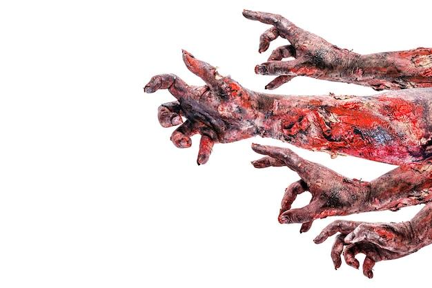 Handen met bloed, van monsters, aanvallen, zombie-aanval, geïsoleerd wit oppervlak.