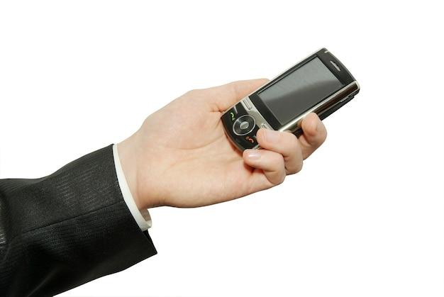 Handen met communicator geïsoleerd op witte achtergrond