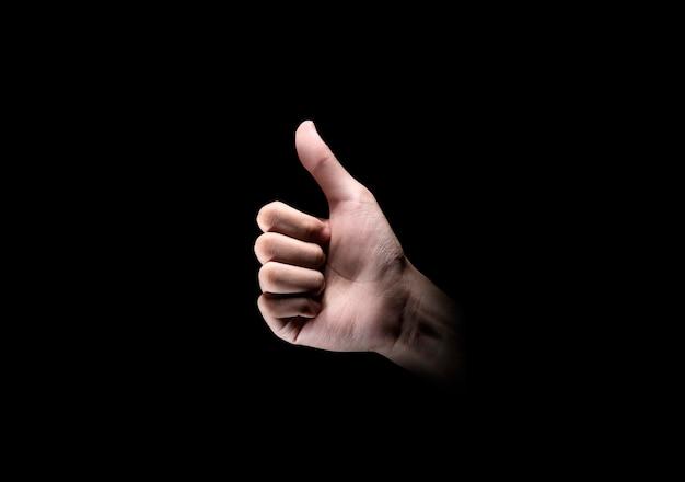 Handen met duim omhoog gebaar