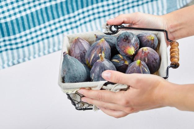 Handen met een mandje met paarse vijgen op wit met een blauw tafelkleed.