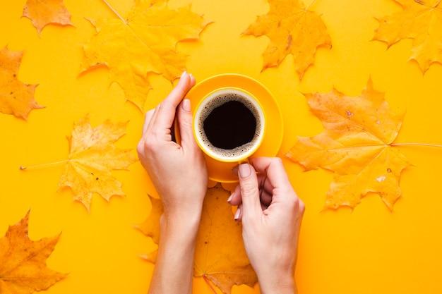 Handen met kopje koffie naast bladeren