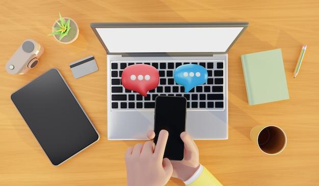 Handen met smartphone met tekstballon. mediamarketing, social media concept, 3d illustratie