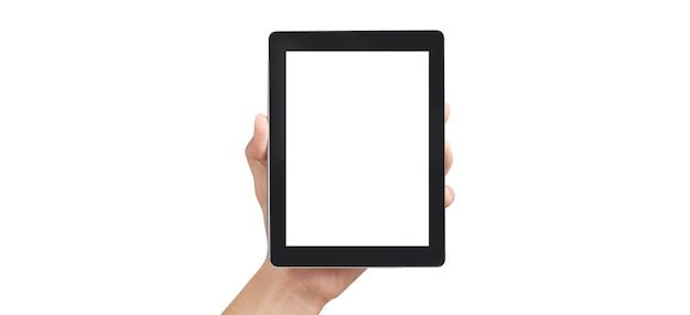 Handen met tablet met leeg scherm