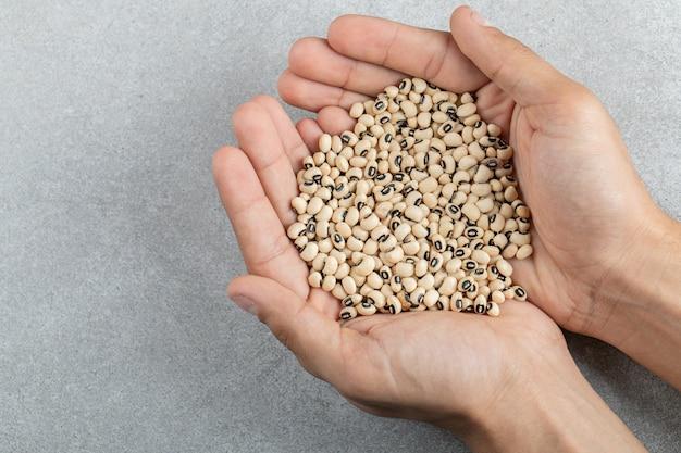 Handen met veel rauwe maïskorrels op een grijs oppervlak.