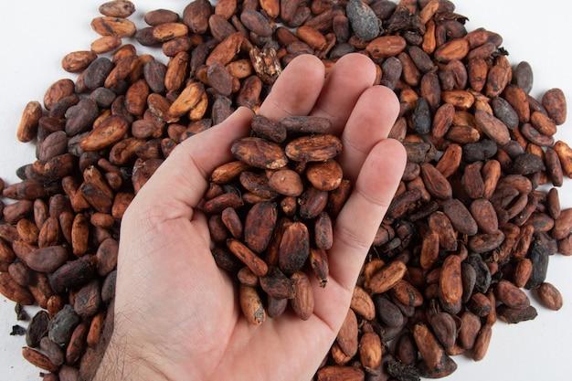Handen met vers geoogste rauwe cacaobonen over cacaobonen.