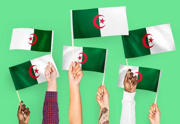 Handen met vlaggen van algerije zwaaien