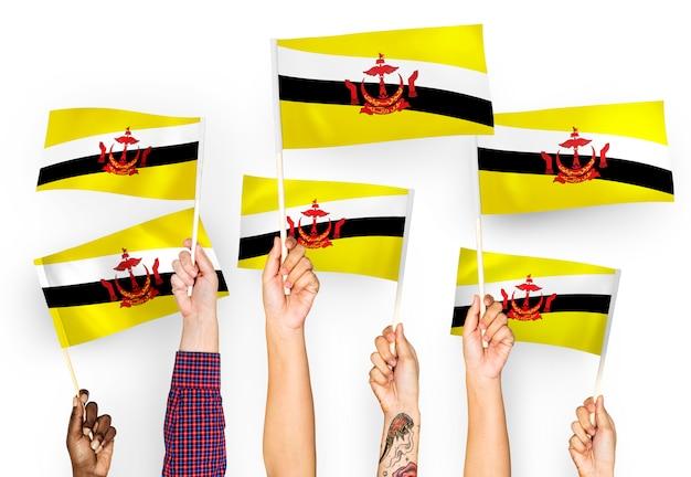 Handen met vlaggen van brunei zwaaien