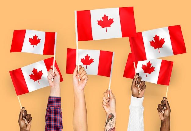 Handen met vlaggen van canada zwaaien
