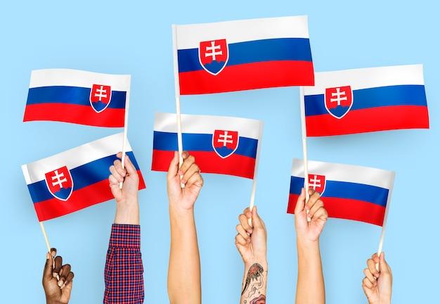 Handen met vlaggen van slowakije zwaaien