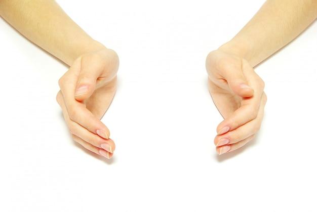Handen op wit