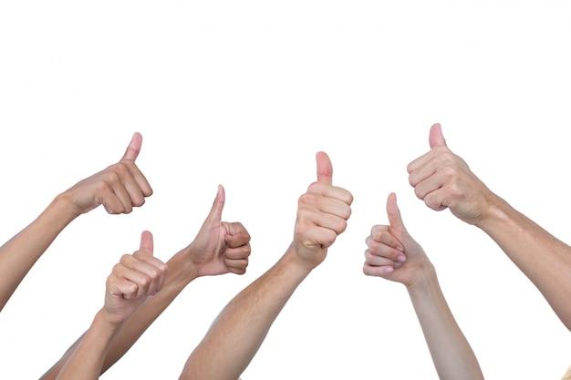 Handen tonen duimen aan de orde gesteld