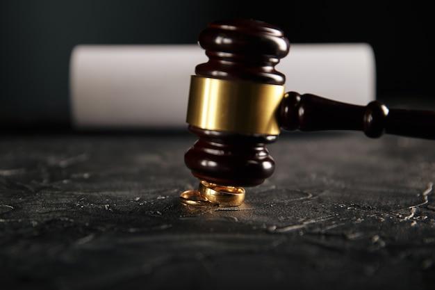 Handen van echtgenote, ondertekening van echtscheidingsvonnis door echtgenoot, ontbinding, huwelijk opzeggen, documenten van scheiding van tafel en bed, echtscheidingspapieren indienen of voorhuwelijkse overeenkomst opgesteld door advocaat. trouwring