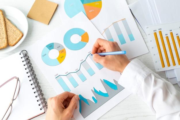 Handen van financieel analistenwerk met grafiekrapport. statistieken, boekhoudkundige ondernemer.