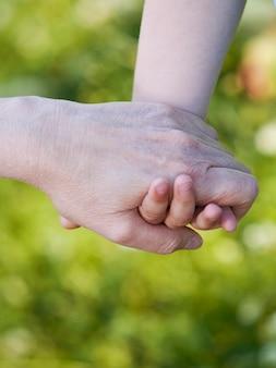 Handen van kleinzoon en grootmoeder