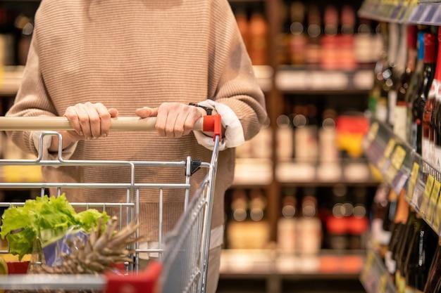Handen van vrouwelijke consument in beige pullover winkelwagentje met vers voedsel te duwen tijdens het wandelen langs planken met alcohol