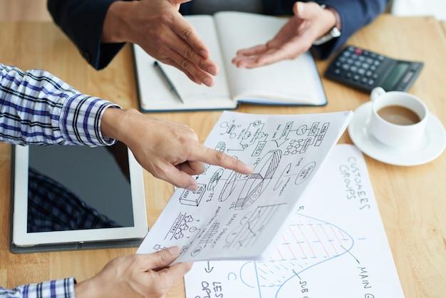 Handen van zakenmensen die een algemeen plan van bedrijfsontwikkeling bespreken tijdens meeting