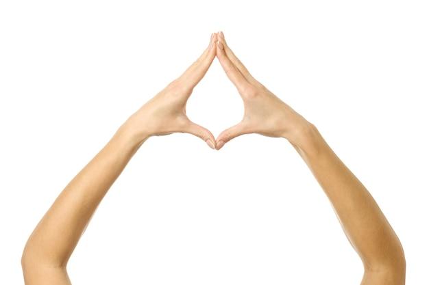 Handen vasthouden of meten. vrouw hand met franse manicure gebaren geïsoleerd. onderdeel van series