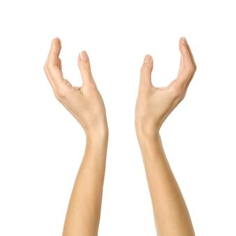 Handen vasthouden of meten. vrouwenhand gesturing geïsoleerd op wit